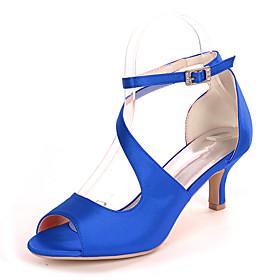Women's Wedding Shoes Spring / Summer Kitten Heel Open Toe Minimalism Wedding Party  Evening Buckle Solid Colored Satin White / Black / Purple