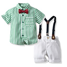 Kids Boys' Basic Striped Short Sleeve Clothing Set Green Fabric:Cotton; Sleeve Length:Short Sleeve; Gender:Boys'; Style:Basic; Kids Apparel:Clothing Set; Age Group:Kids; Pattern:Striped; Front page:FF; Listing Date:06/03/2020; Bust:; Length [Bottom]:; Length [Top]: