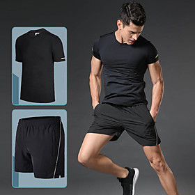 Men's 2-Piece Pocket Tracksuit Activewear Set Workout Outfits Athletic Short Sleeve Reflective Breathable Quick Dry Gym Workout Running Active Training Jogging