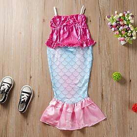 Kids Girls' Active Cute The Little Mermaid Animal Lace up Sleeveless Maxi Dress Blushing Pink
