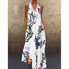 Women's A-Line Dress Maxi long Dress - Sleeveless Floral Print Summer V Neck Plus Size Casual Holiday Loose 2020 White Blue Yellow S M L XL XXL 3XL 4XL 5XL