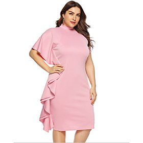 Women's A-Line Dress Knee Length Dress - Short Sleeve Solid Color Summer Plus Size Casual Chinoiserie 2020 Blushing Pink L XL XXL 3XL 4XL