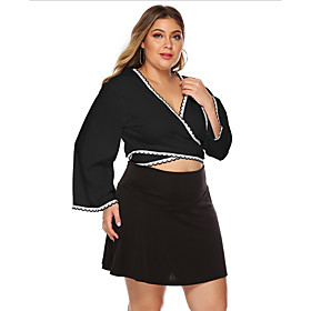 Women's Going out Plus Size Blouse Shirt Solid Colored Long Sleeve V Neck Tops Basic Top Black