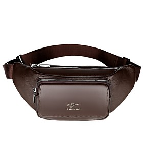 Men's Bags PU Leather Fanny Pack Zipper Solid Color for Daily Black / Brown