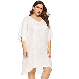 Women's A-Line Dress Knee Length Dress - Half Sleeve Solid Color Summer V Neck Plus Size Casual Chinoiserie 2020 White L XL XXL 3XL 4XL