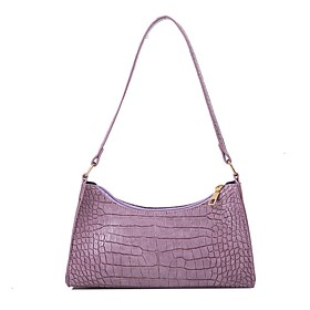 Women's Bags PU Leather Crossbody Bag Zipper Chain Solid Color for Daily White / Black / Purple
