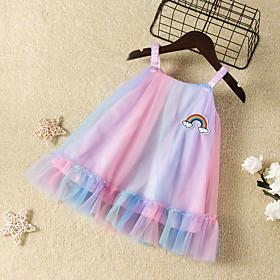 Kids Girls' Active Cute Dusty Rose Dusty Blue Rainbow Mesh Sleeveless Knee-length Dress Rainbow