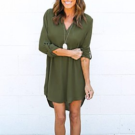 Women's A-Line Dress Knee Length Dress - 3/4 Length Sleeve Solid Color Summer V Neck Casual 2020 Black Blue Green Brown S M L XL XXL 3XL