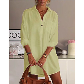 Women's Shirt Dress Short Mini Dress - Long Sleeve Solid Color Summer Shirt Collar Casual Chinoiserie Cotton 2020 White Black Yellow Blushing Pink Green S M L