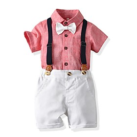 Kids Boys' Basic Solid Colored Short Sleeve Clothing Set Blushing Pink Fabric:Cotton; Sleeve Length:Short Sleeve; Gender:Boys'; Style:Basic; Kids Apparel:Clothing Set; Age Group:Kids; Pattern:Solid Colored; Front page:FF; Listing Date:06/03/2020; Bust:; Length [Bottom]:; Length [Top]: