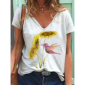 Women's T shirt Floral Flower Animal Print V Neck Basic Tops Cotton White