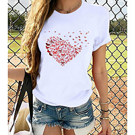 Women's T-shirt Heart Graphic Prints Printing Round Neck Tops Loose 100% Cotton Basic Top Cat White Black