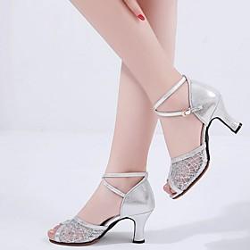 Women's Dance Shoes Modern Shoes / Ballroom Shoes / Line Dance Heel Slim High Heel Black / Gold / Silver