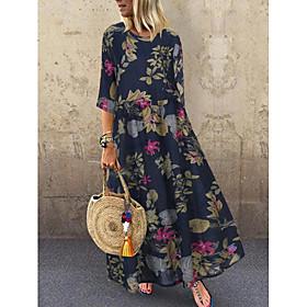 Women's A-Line Dress Midi Dress - Short Sleeve Floral Print Summer Plus Size Casual Hot vacation dresses Loose 2020 Red Yellow Navy Blue M L XL XXL 3XL 4XL 5XL