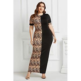 Women's Sheath Dress Maxi long Dress - Short Sleeve Leopard Animal Patchwork Print Summer Elegant 2020 Black Light Brown Camel Brown S M L XL XXL 3XL 4XL 5XL