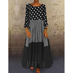 Women's A-Line Dress Maxi long Dress - Long Sleeve Polka Dot Patchwork Print Spring Fall Plus Size Casual Hot Holiday vacation dresses Loose 2020 Black Red Yel