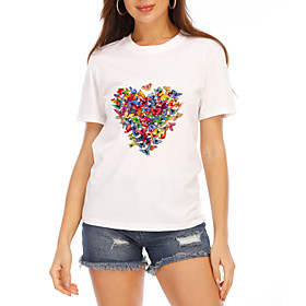 Women's T-shirt Graphic Heart Print Round Neck Tops Loose 100% Cotton Cotton Basic Basic Top White