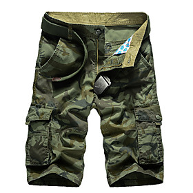 Men's Basic Daily Loose Shorts Tactical Cargo Pants Camouflage Summer Army Green Khaki US32 / UK32 / EU40 US36 / UK36 / EU44 US38 / UK38 / EU46