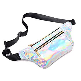 Men's Bags PU Leather Fanny Pack Zipper Solid Color for Daily Black / Blushing Pink / Light Purple / Silver