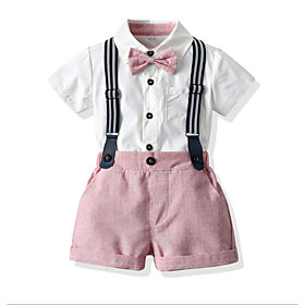 Kids Toddler Boys' Basic Color Block Short Sleeve Clothing Set Blushing Pink Fabric:Cotton; Sleeve Length:Short Sleeve; Gender:Boys'; Style:Basic; Kids Apparel:Clothing Set; Age Group:Toddler,Kids; Pattern:Color Block; Front page:FF; Listing Date:06/02/2020; Bust:; Length [Bottom]:; Length [Top]:
