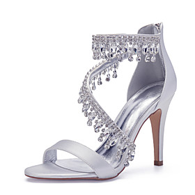 Women's Wedding Shoes Spring / Summer Stiletto Heel Open Toe Sexy Minimalism Roman Shoes Wedding Party  Evening Rhinestone / Crystal Solid Colored Satin White