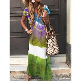 Women's A-Line Dress Maxi long Dress - Short Sleeve Tie Dye Summer V Neck Casual 2020 Purple Green Navy Blue Light Blue S M L XL XXL 3XL 4XL 5XL