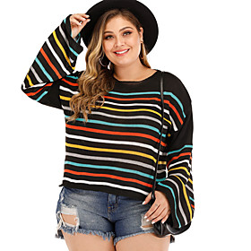 Women's Striped Pullover Long Sleeve Plus Size Sweater Cardigans Round Neck Black