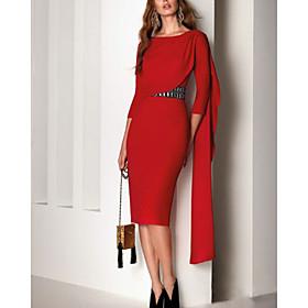 Sheath / Column Elegant Beautiful Back Party Wear Cocktail Party Dress Jewel Neck Half Sleeve Knee Length Chiffon with Sash / Ribbon 2020