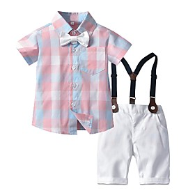 Kids Boys' Basic Print Short Sleeve Clothing Set Blushing Pink Fabric:Cotton; Sleeve Length:Short Sleeve; Gender:Boys'; Style:Basic; Kids Apparel:Clothing Set; Age Group:Kids; Pattern:Print; Front page:FF; Listing Date:06/03/2020; Bust:; Length [Bottom]:; Length [Top]: