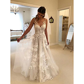 A-Line Wedding Dresses V Neck Court Train Lace Regular Straps Formal Casual Beach with 2020