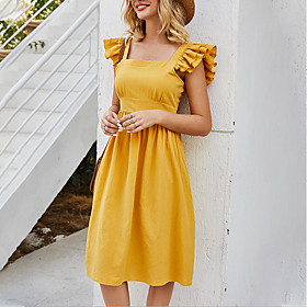 Women's A-Line Dress Knee Length Dress - Sleeveless Solid Color Summer Square Neck Casual Cotton 2020 Yellow S M L XL
