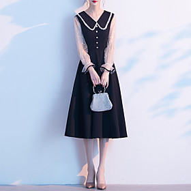 A-Line Color Block Minimalist Homecoming Cocktail Party Dress V Neck Long Sleeve Knee Length Spandex with Buttons 2020