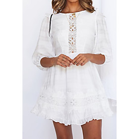 Women's A-Line Dress Knee Length Dress - 3/4 Length Sleeve Solid Color Summer Casual 2020 White S M L XL