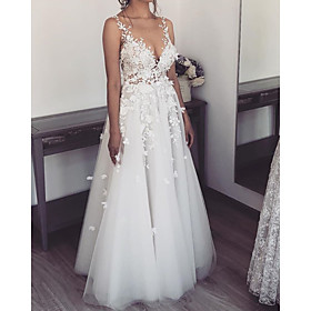A-Line Wedding Dresses V Neck Spaghetti Strap Sweep / Brush Train Lace Tulle Sleeveless Sexy See-Through with Embroidery 2020