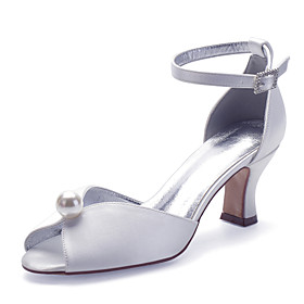 Women's Wedding Shoes Spring / Summer Pumps Peep Toe Classic Sweet Minimalism Wedding Party  Evening Imitation Pearl Solid Colored Satin White / Black / Purple
