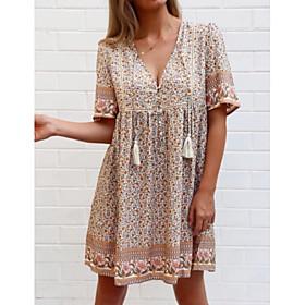 Women's A-Line Dress Knee Length Dress - Half Sleeve Floral Summer V Neck Casual Loose 2020 Camel S M L XL XXL 3XL