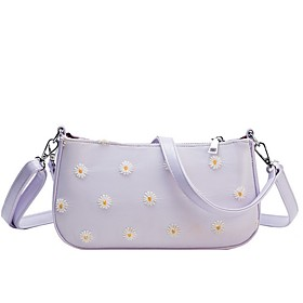 Women's Bags PU Leather Crossbody Bag Floral Print for Daily White / Black / Purple / Blushing Pink