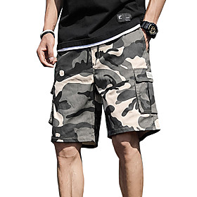 Men's Basic Daily Holiday Slim Cotton Shorts Tactical Cargo Pants Camouflage Drawstring Breathable Summer White Army Green Orange US32 / UK32 / EU40 US34 / UK3