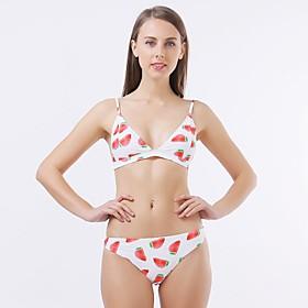 Women's Triangle Cheeky Bikini Tankini Swimwear Swimsuit - Fruit Print S M L White