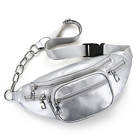 Men's Bags PU Leather Fanny Pack Zipper Solid Color for Daily White / Black / Red