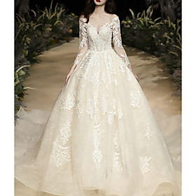 Ball Gown Wedding Dresses Jewel Neck Watteau Train Lace Tulle Long Sleeve Glamorous See-Through with Embroidery 2020