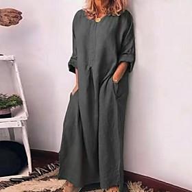 Women's A-Line Dress Maxi long Dress - 3/4 Length Sleeve Solid Color Summer V Neck Casual 2020 Wine Green Gray S M L XL XXL 3XL 4XL 5XL