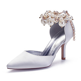 Women's Wedding Shoes Spring / Summer Stiletto Heel Pointed Toe Sexy Minimalism Roman Shoes Wedding Party  Evening Crystal / Imitation Pearl Solid Colored Sati