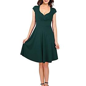 Women's A-Line Dress Knee Length Dress - Short Sleeves Solid Color Summer Work Vintage 2020 Green S M L XL XXL