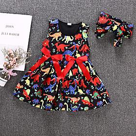 Kids Girls' Active Basic Dinosaur Animal Bow Sleeveless Knee-length Dress Rainbow