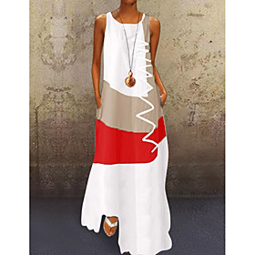 Women's A-Line Dress Maxi long Dress - Sleeveless Color Block Print Summer Plus Size Casual Hot Holiday 2020 White Blue Red Khaki S M L XL XXL 3XL 4XL 5XL