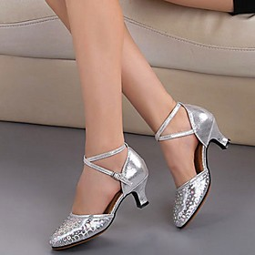 Women's Modern Shoes PU Buckle Heel Thick Heel Dance Shoes Red / Gold / Silver Category:Modern Shoes; Upper Materials:PU; Heel Type:Thick Heel; Gender:Women's; Style:Heel; Outsole Materials:PVC; Occasion:Performance; Closure Type:Buckle; Listing Date:06/05/2020; Foot Length:; Size chart date source:Provided by Supplier.