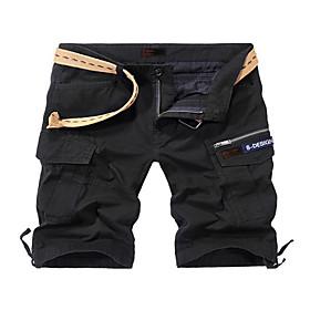Men's Basic Slim Shorts Pants Solid Colored Black Army Green Khaki 30 31 32