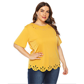 Women's Plus Size T-shirt Solid Colored Round Neck Tops Basic Top Yellow