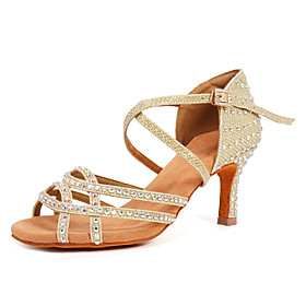 Women's Dance Shoes Latin Shoes / Ballroom Shoes / Salsa Shoes Heel Rhinestone / Buckle / Crystals Flared Heel Customizable Black / Gold / Silver / Performance
